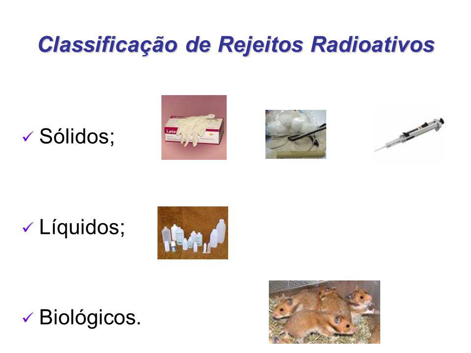 Classificação de Rejeitos Radioativos Sólidos; Líquidos; Biológicos.
