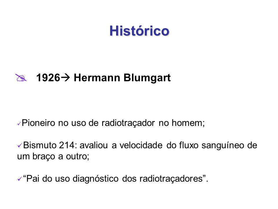 Histórico  1926  Hermann Blumgart Pioneiro no uso de radiotraçador no homem; Bismuto 214: avaliou a velocidade do fluxo sanguíneo de um braço a outro; Pai do uso diagnóstico dos radiotraçadores .