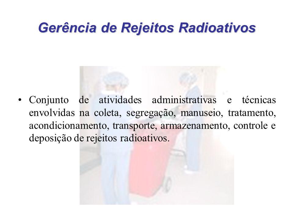 Gerência de Rejeitos Radioativos Conjunto de atividades administrativas e técnicas envolvidas na coleta, segregação, manuseio, tratamento, acondicionamento, transporte, armazenamento, controle e deposição de rejeitos radioativos.