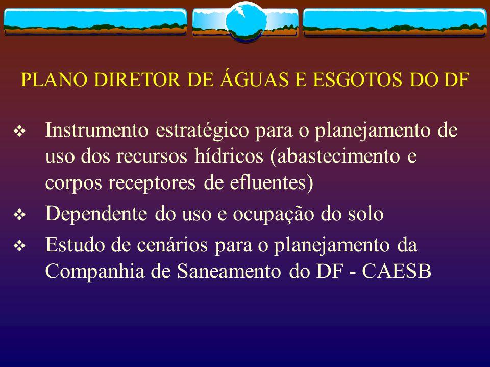  Instrumento estratégico para o planejamento de uso dos recursos hídricos (abastecimento e corpos receptores de efluentes)  Dependente do uso e ocup