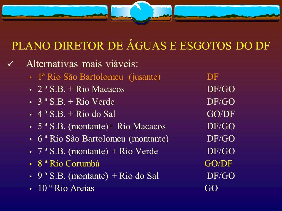 Alternativas mais viáveis: 1ª Rio São Bartolomeu (jusante) DF 2 ª S.B. + Rio Macacos DF/GO 3 ª S.B. + Rio Verde DF/GO 4 ª S.B. + Rio do Sal GO/DF 5 ª