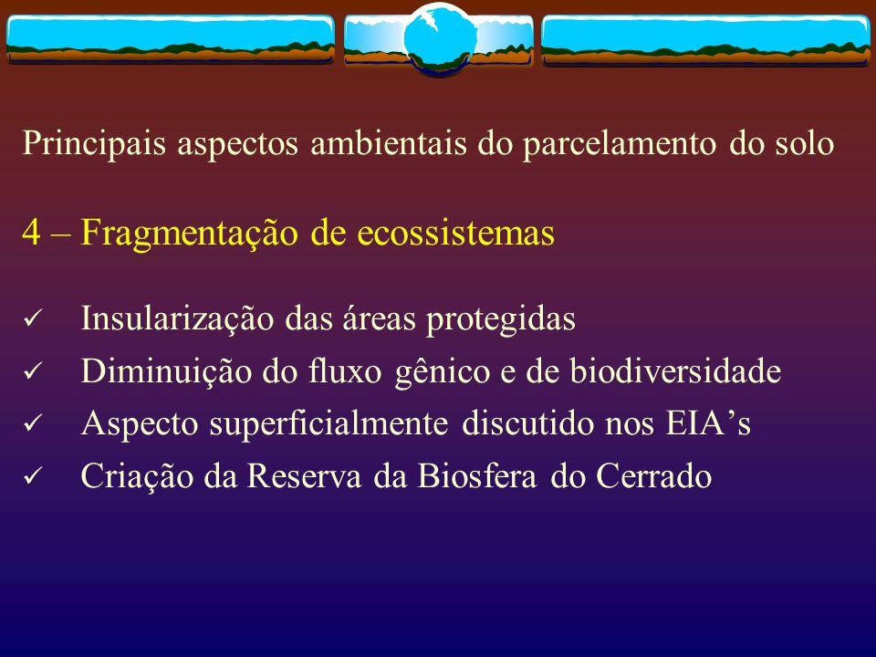 4 – Fragmentação de ecossistemas Insularização das áreas protegidas Diminuição do fluxo gênico e de biodiversidade Aspecto superficialmente discutido