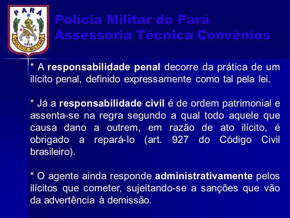 Polícia Militar do Pará Assessoria Técnica Convênios * A responsabilidade penal decorre da prática de um ilícito penal, definido expressamente como ta