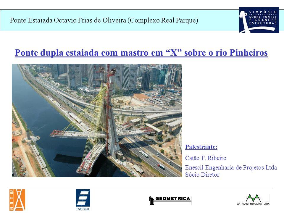 Ponte Estaiada Octavio Frias de Oliveira (Complexo Real Parque) Ponte dupla estaiada com mastro em X sobre o rio Pinheiros Palestrante: Catão F.