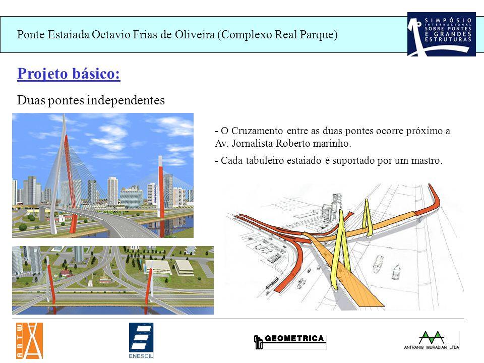 Ponte Estaiada Octavio Frias de Oliveira (Complexo Real Parque) Projeto básico: Duas pontes independentes - O Cruzamento entre as duas pontes ocorre próximo a Av.