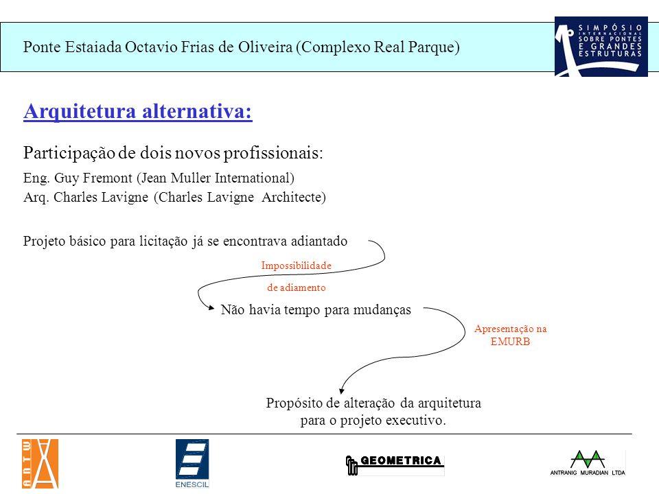 Ponte Estaiada Octavio Frias de Oliveira (Complexo Real Parque) Arquitetura alternativa: Participação de dois novos profissionais: Eng.