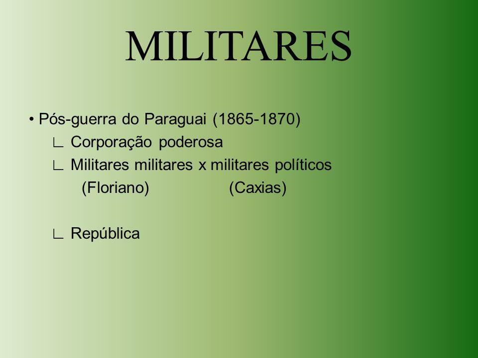 MILITARES Pós-guerra do Paraguai (1865-1870) ∟ Corporação poderosa ∟ Militares militares x militares políticos (Floriano) (Caxias) ∟ República