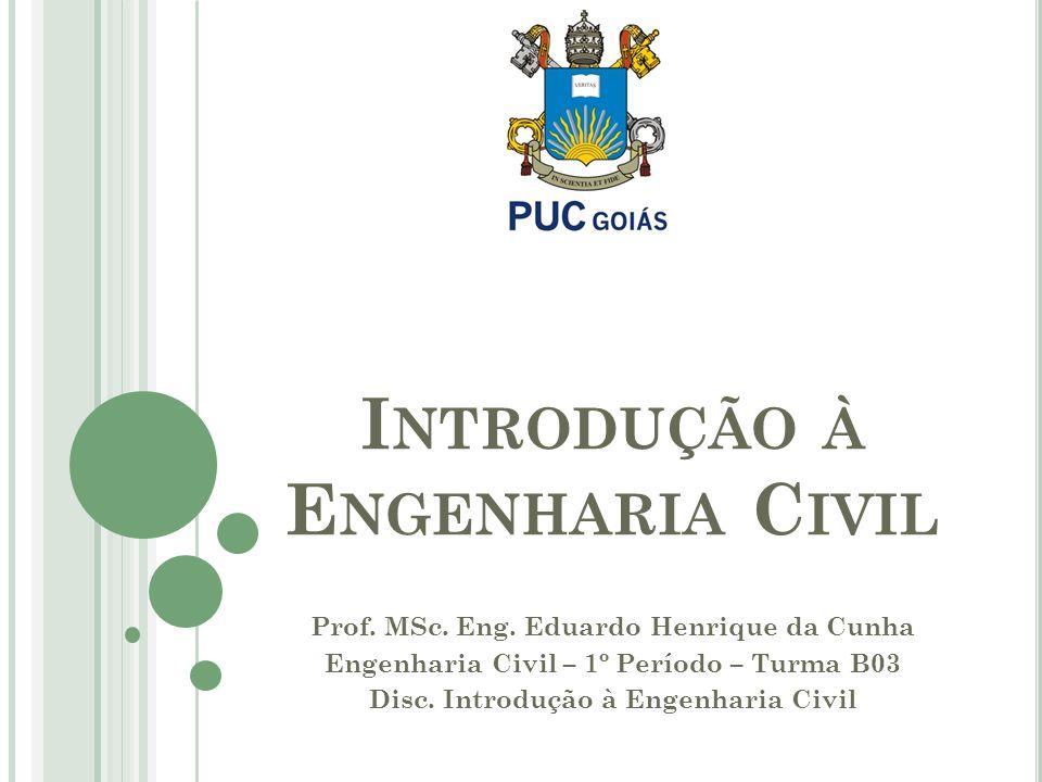 Prof.MSc. Eng. Eduardo Henrique da Cunha Engenharia Civil – 1º Período – Turma B03 Disc.
