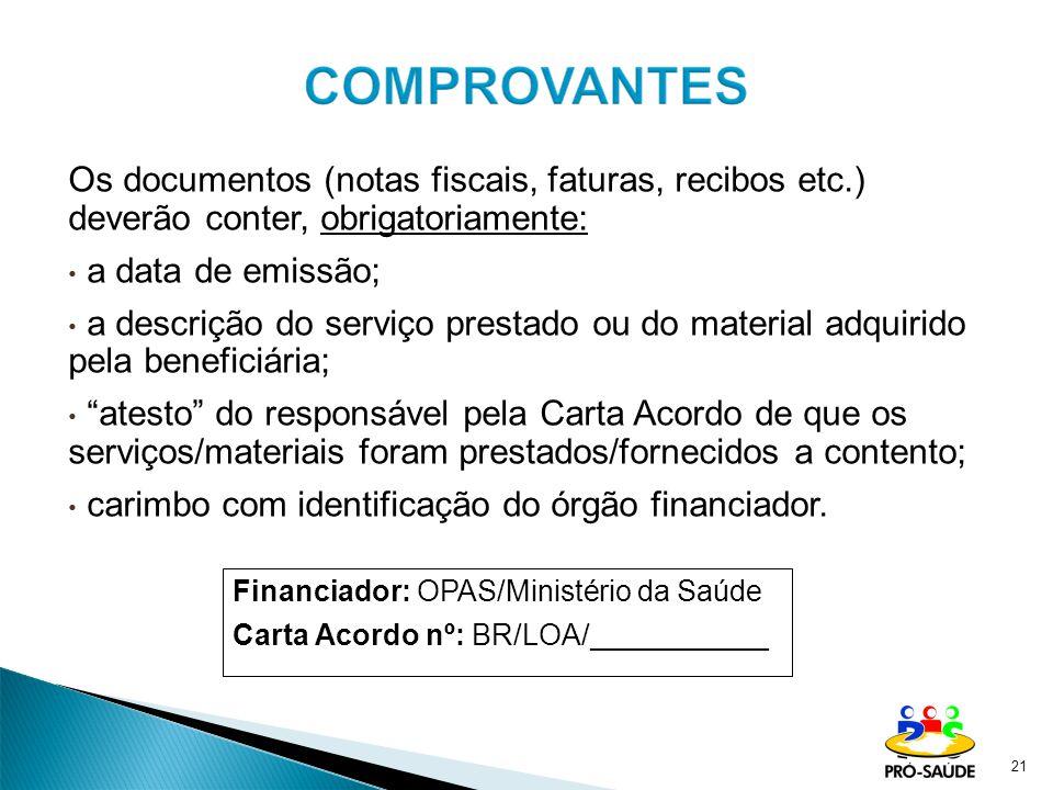 Os documentos (notas fiscais, faturas, recibos etc.) deverão conter, obrigatoriamente: a data de emissão; a descrição do serviço prestado ou do materi