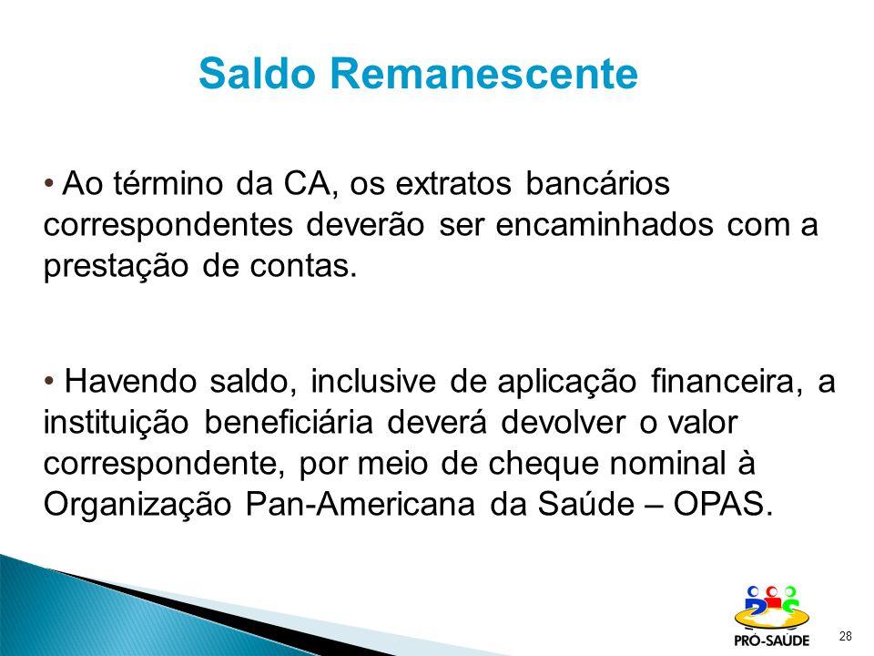 28 Saldo Remanescente Ao término da CA, os extratos bancários correspondentes deverão ser encaminhados com a prestação de contas.