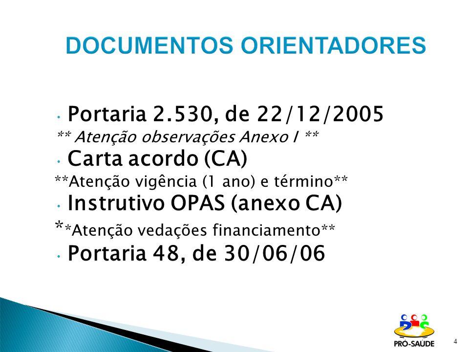 4 Portaria 2.530, de 22/12/2005 ** Atenção observações Anexo I ** Carta acordo (CA) **Atenção vigência (1 ano) e término** Instrutivo OPAS (anexo CA)