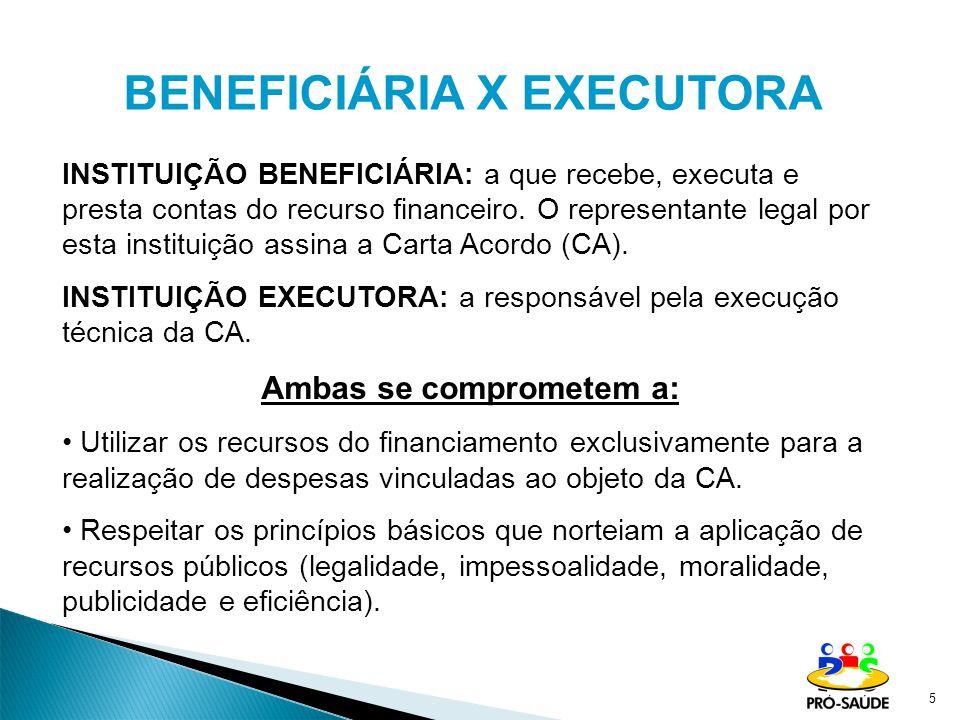 5 INSTITUIÇÃO BENEFICIÁRIA: a que recebe, executa e presta contas do recurso financeiro. O representante legal por esta instituição assina a Carta Aco