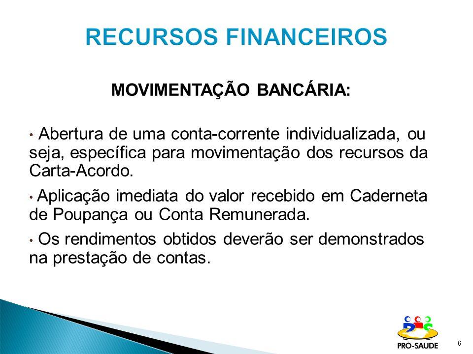 Abertura de uma conta-corrente individualizada, ou seja, específica para movimentação dos recursos da Carta-Acordo.