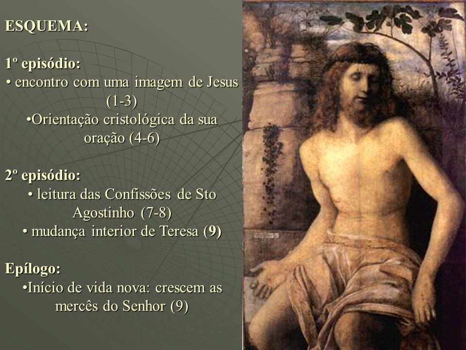 ESQUEMA: 1º episódio: encontro com uma imagem de Jesus (1-3) encontro com uma imagem de Jesus (1-3) Orientação cristológica da sua oração (4-6)Orienta
