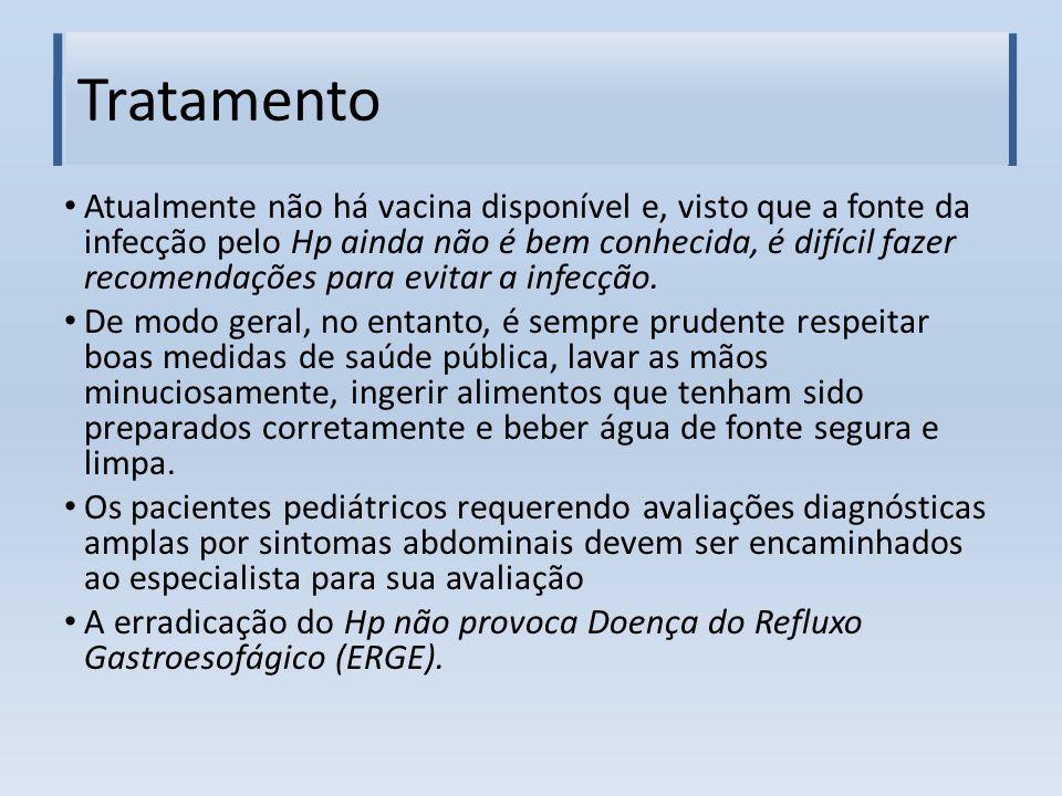 Tratamento Atualmente não há vacina disponível e, visto que a fonte da infecção pelo Hp ainda não é bem conhecida, é difícil fazer recomendações para