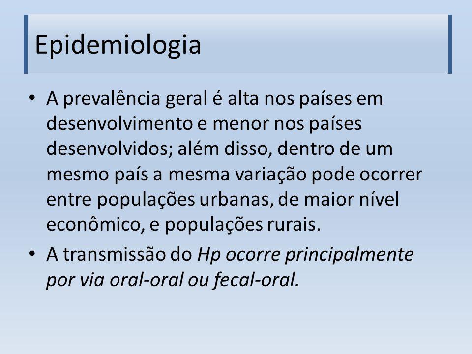 Epidemiologia A prevalência geral é alta nos países em desenvolvimento e menor nos países desenvolvidos; além disso, dentro de um mesmo país a mesma v