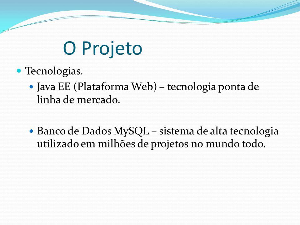 O Projeto Tecnologias.Java EE (Plataforma Web) – tecnologia ponta de linha de mercado.