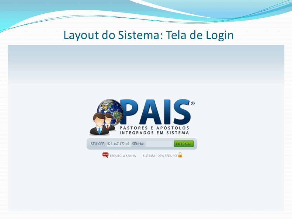 Layout do Sistema: Tela de Login