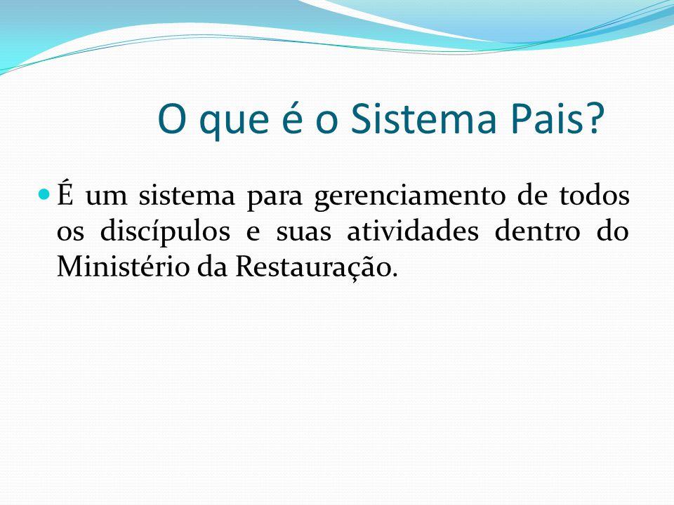 O que é o Sistema Pais? É um sistema para gerenciamento de todos os discípulos e suas atividades dentro do Ministério da Restauração.