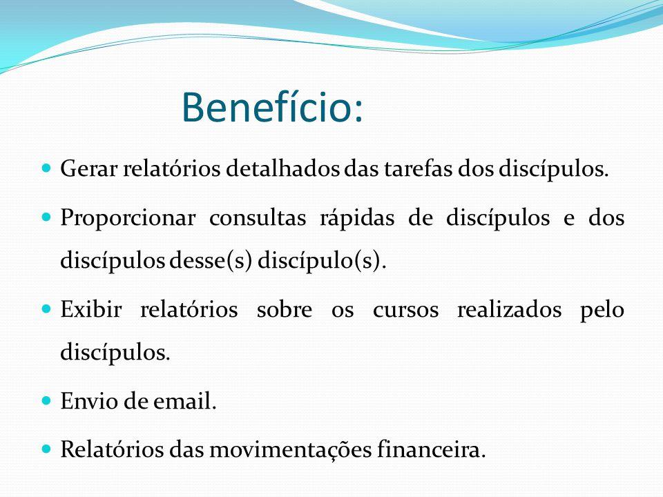 Benefício: Gerar relatórios detalhados das tarefas dos discípulos. Proporcionar consultas rápidas de discípulos e dos discípulos desse(s) discípulo(s)