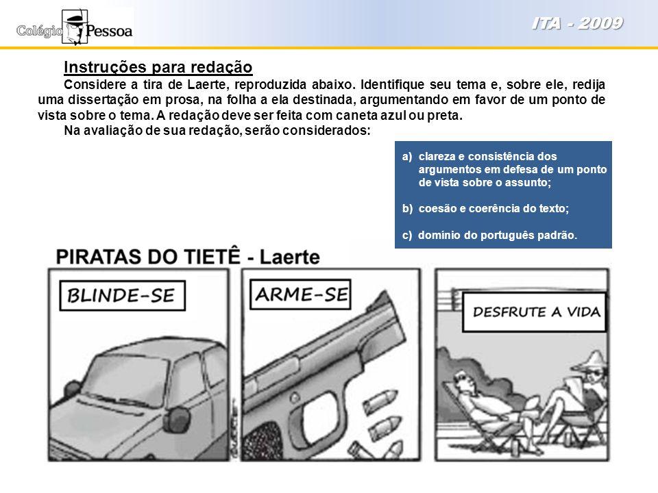 Instruções para redação Considere a tira de Laerte, reproduzida abaixo. Identifique seu tema e, sobre ele, redija uma dissertação em prosa, na folha a