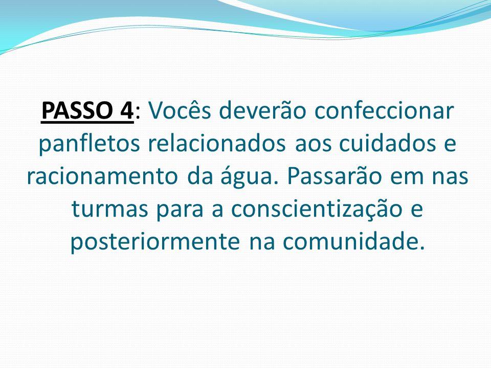 PASSO 4: Vocês deverão confeccionar panfletos relacionados aos cuidados e racionamento da água. Passarão em nas turmas para a conscientização e poster