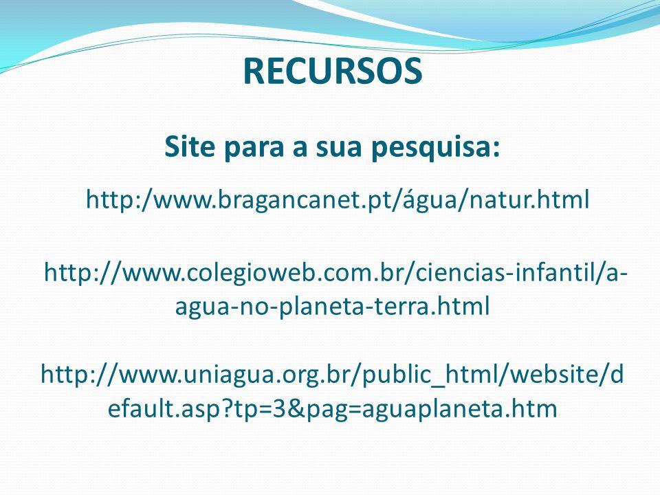 RECURSOS Site para a sua pesquisa: http:/www.bragancanet.pt/água/natur.html http://www.colegioweb.com.br/ciencias-infantil/a- agua-no-planeta-terra.ht