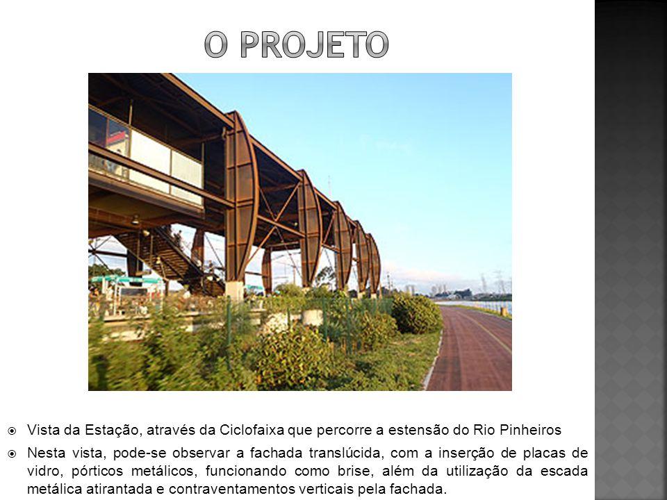  Vista da Estação, através da Ciclofaixa que percorre a estensão do Rio Pinheiros  Nesta vista, pode-se observar a fachada translúcida, com a inserç