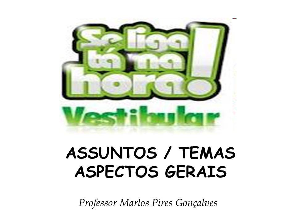 ASSUNTOS / TEMAS ASPECTOS GERAIS Professor Marlos Pires Gonçalves