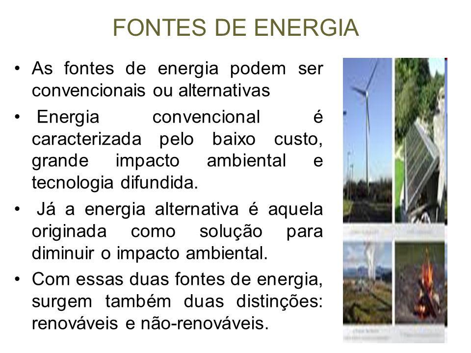 FONTES DE ENERGIA As fontes de energia podem ser convencionais ou alternativas Energia convencional é caracterizada pelo baixo custo, grande impacto a