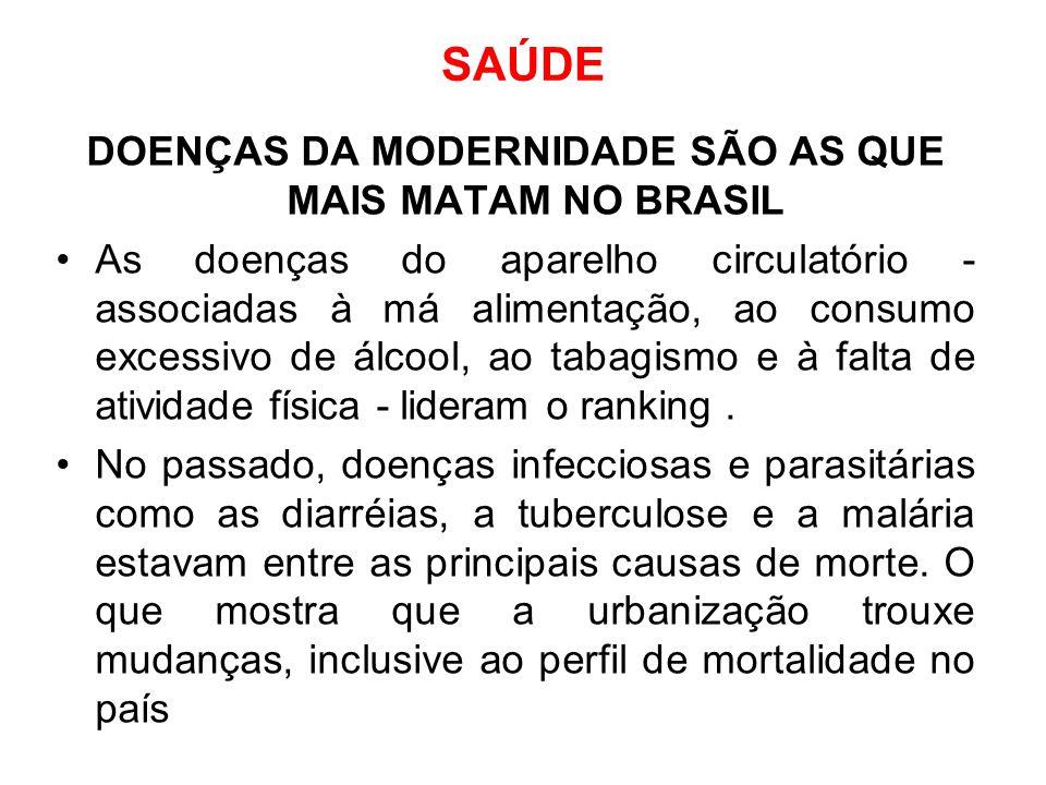 SAÚDE DOENÇAS DA MODERNIDADE SÃO AS QUE MAIS MATAM NO BRASIL As doenças do aparelho circulatório - associadas à má alimentação, ao consumo excessivo d