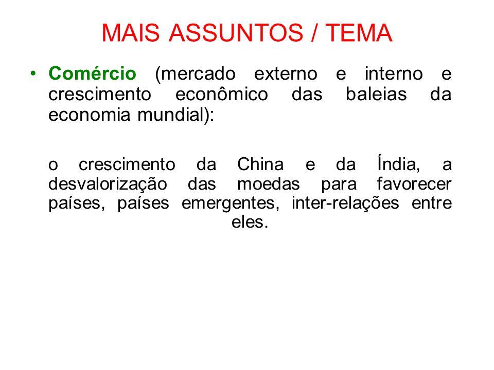 MAIS ASSUNTOS / TEMA Comércio (mercado externo e interno e crescimento econômico das baleias da economia mundial): o crescimento da China e da Índia,