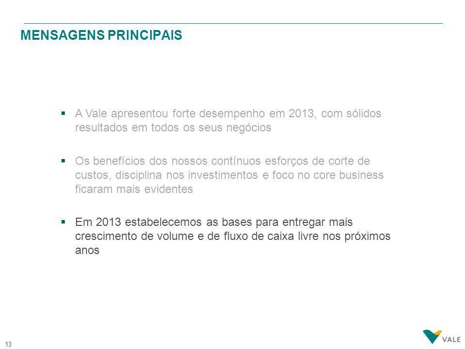 13 MENSAGENS PRINCIPAIS  A Vale apresentou forte desempenho em 2013, com sólidos resultados em todos os seus negócios  Os benefícios dos nossos cont