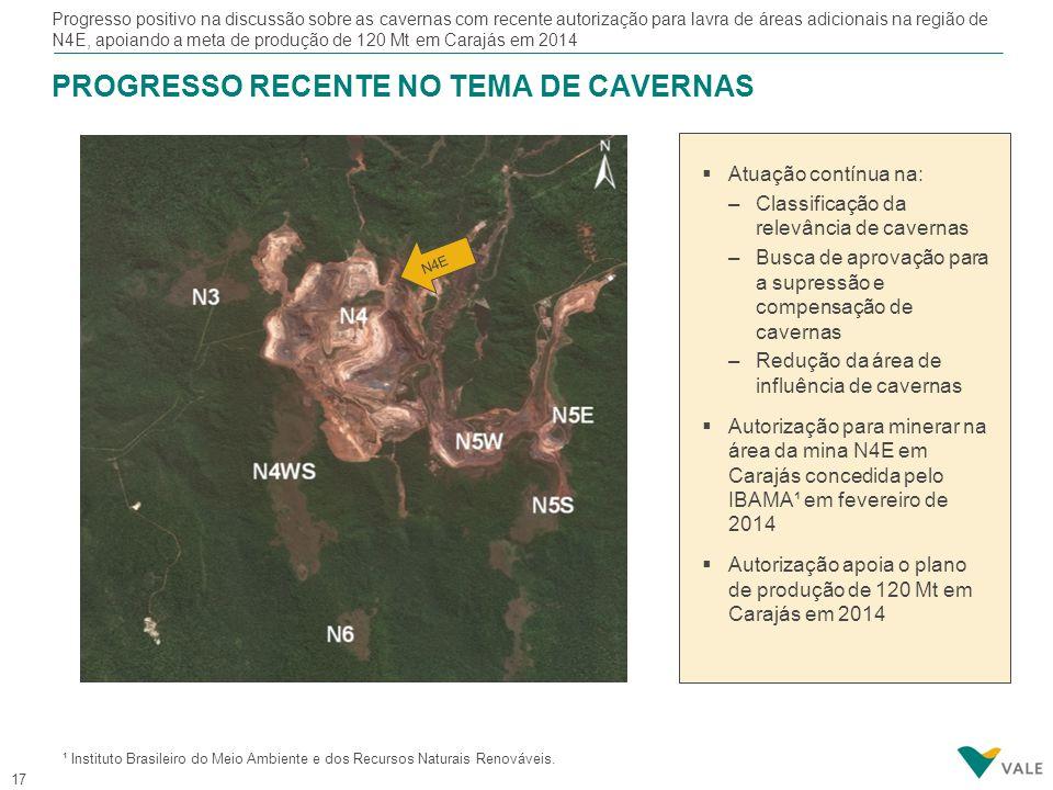 17 PROGRESSO RECENTE NO TEMA DE CAVERNAS Progresso positivo na discussão sobre as cavernas com recente autorização para lavra de áreas adicionais na r
