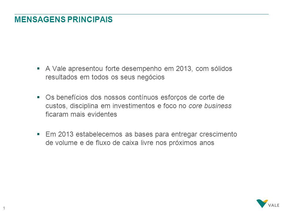 1  A Vale apresentou forte desempenho em 2013, com sólidos resultados em todos os seus negócios  Os benefícios dos nossos contínuos esforços de cort
