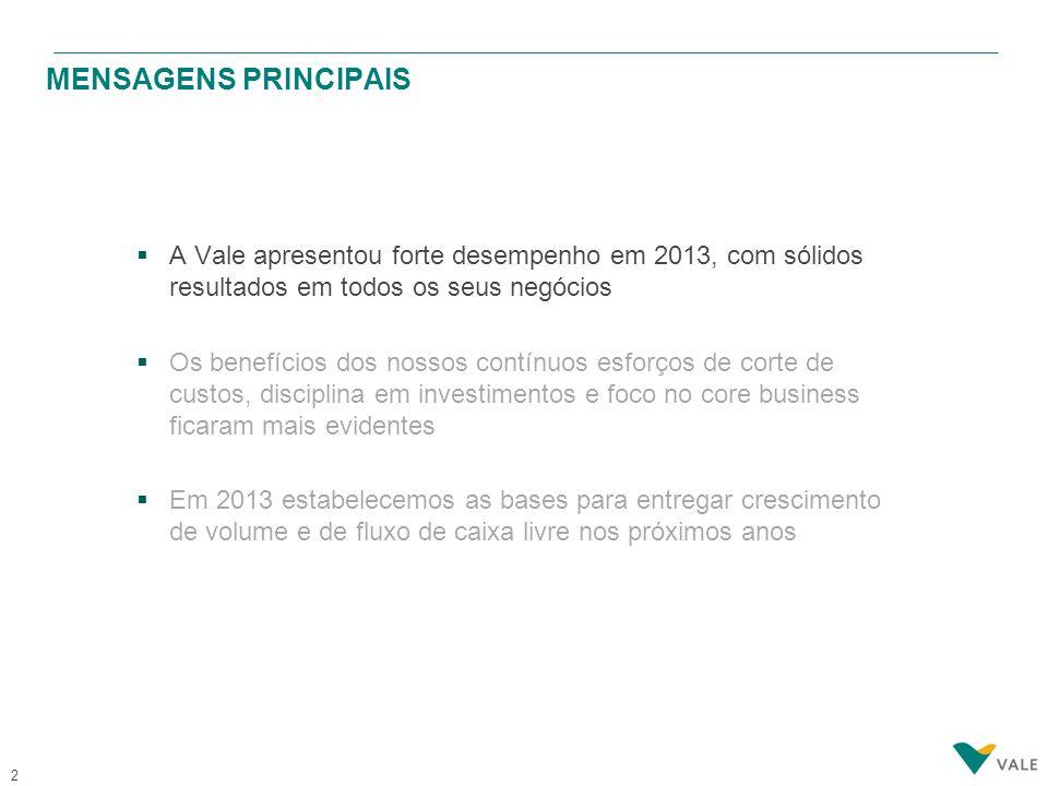 2  A Vale apresentou forte desempenho em 2013, com sólidos resultados em todos os seus negócios  Os benefícios dos nossos contínuos esforços de cort
