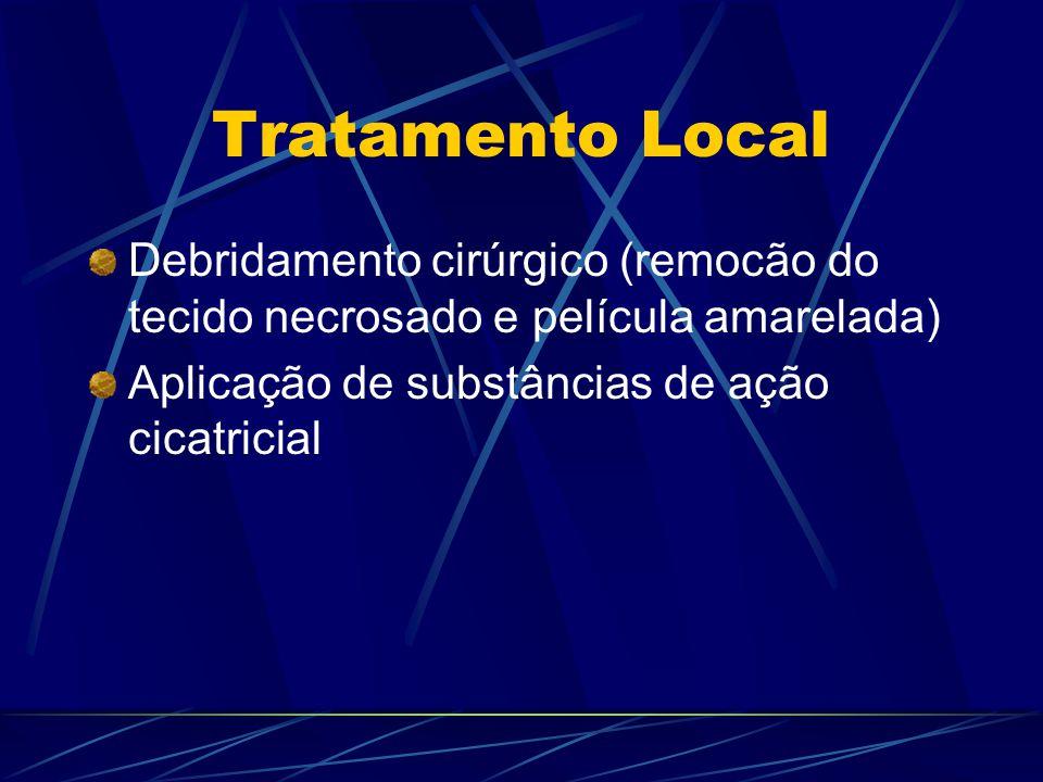Tratamento Local Debridamento cirúrgico (remocão do tecido necrosado e película amarelada) Aplicação de substâncias de ação cicatricial