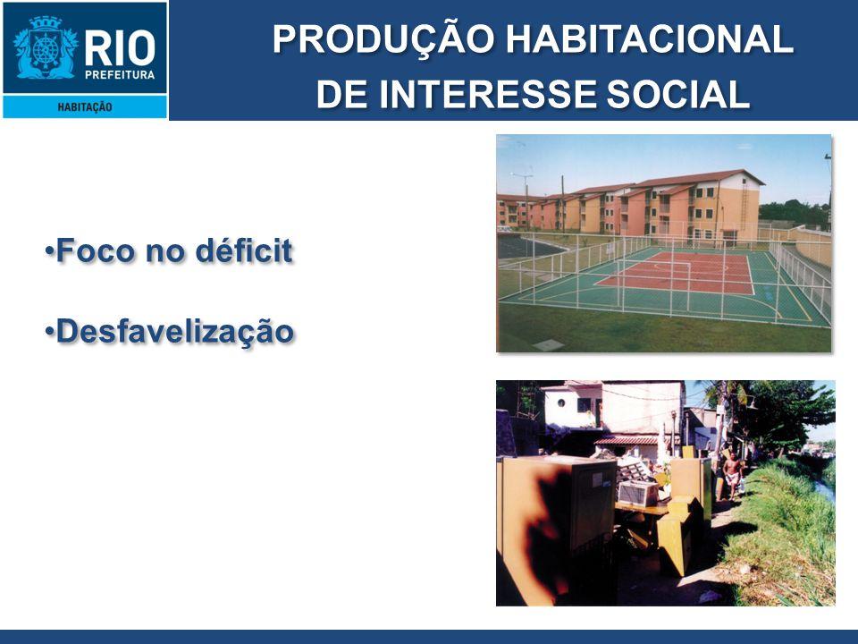 PRODUÇÃO HABITACIONAL DE INTERESSE SOCIAL PRODUÇÃO HABITACIONAL DE INTERESSE SOCIAL Foco no déficit Desfavelização Foco no déficit Desfavelização