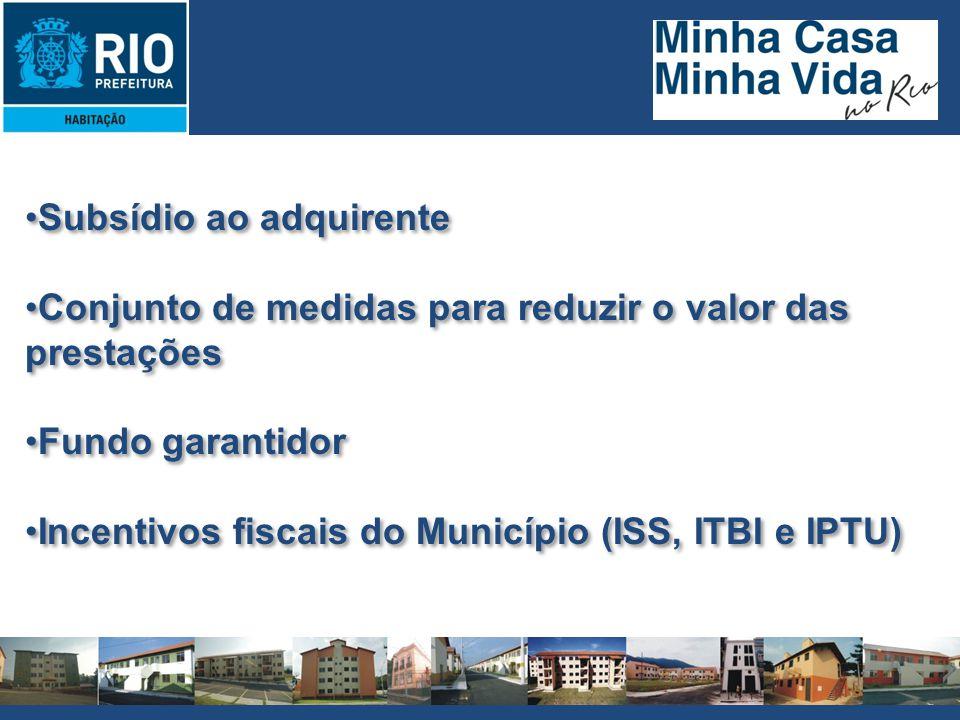 Subsídio ao adquirente Conjunto de medidas para reduzir o valor das prestações Fundo garantidor Incentivos fiscais do Município (ISS, ITBI e IPTU) Sub