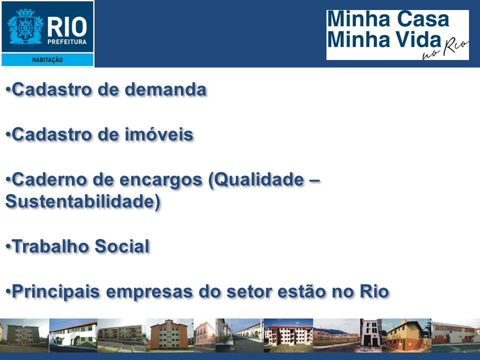 Cadastro de demanda Cadastro de imóveis Caderno de encargos (Qualidade – Sustentabilidade) Trabalho Social Principais empresas do setor estão no Rio C