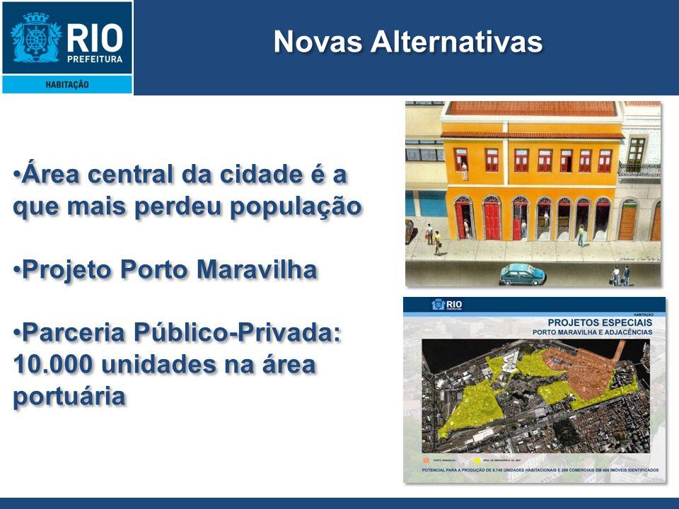 Área central da cidade é a que mais perdeu população Projeto Porto Maravilha Parceria Público-Privada: 10.000 unidades na área portuária Área central