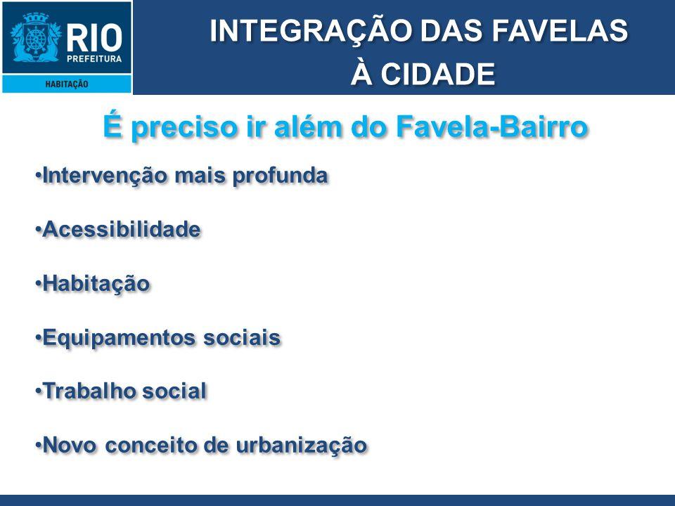 INTEGRAÇÃO DAS FAVELAS À CIDADE INTEGRAÇÃO DAS FAVELAS À CIDADE É preciso ir além do Favela-Bairro Intervenção mais profunda Acessibilidade Habitação