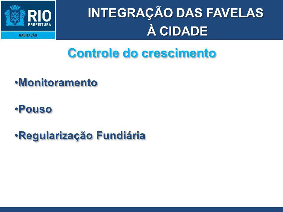 INTEGRAÇÃO DAS FAVELAS À CIDADE INTEGRAÇÃO DAS FAVELAS À CIDADE Controle do crescimento Monitoramento Pouso Regularização Fundiária Monitoramento Pous