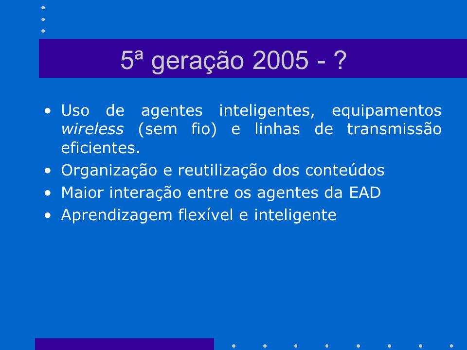 Uso de agentes inteligentes, equipamentos wireless (sem fio) e linhas de transmissão eficientes. Organização e reutilização dos conteúdos Maior intera