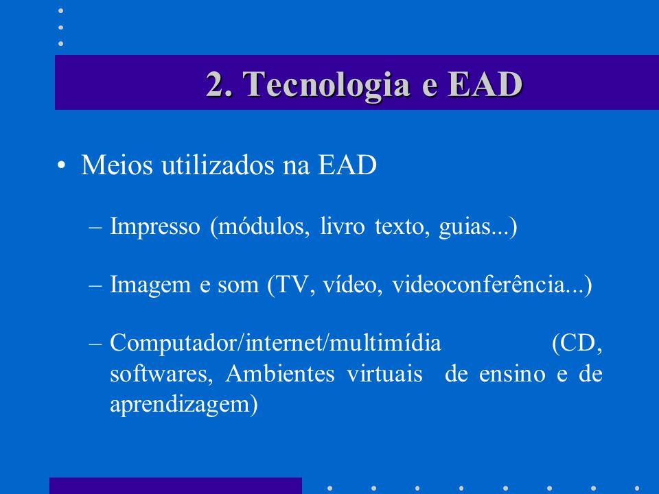 2. Tecnologia e EAD Meios utilizados na EAD –Impresso (módulos, livro texto, guias...) –Imagem e som (TV, vídeo, videoconferência...) –Computador/inte