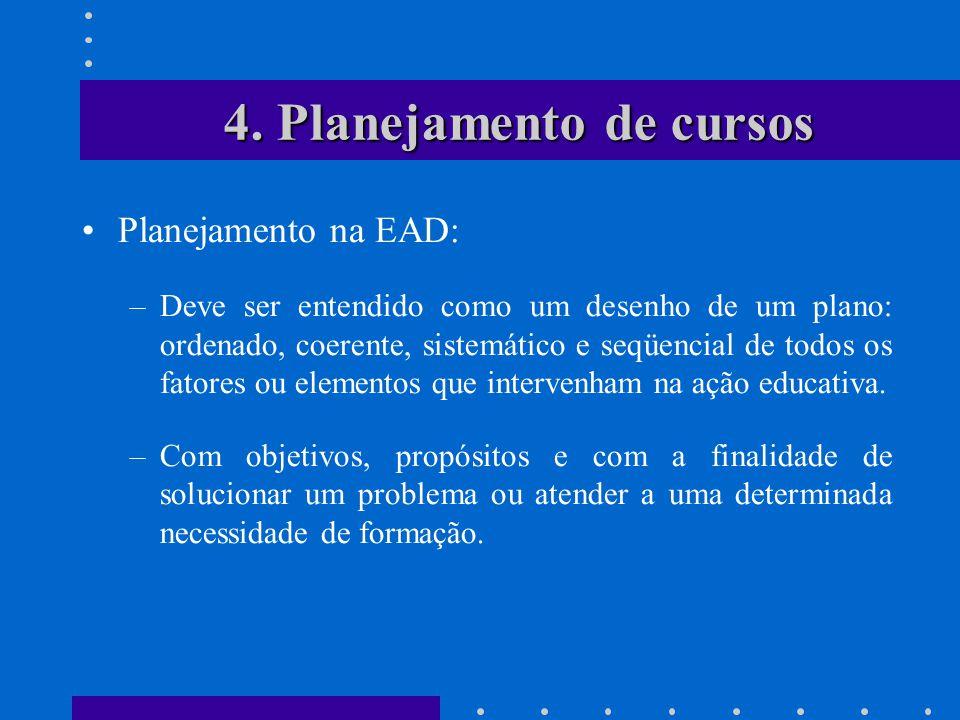 4. Planejamento de cursos Planejamento na EAD: –Deve ser entendido como um desenho de um plano: ordenado, coerente, sistemático e seqüencial de todos