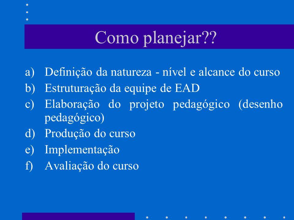 a)Definição da natureza - nível e alcance do curso b)Estruturação da equipe de EAD c)Elaboração do projeto pedagógico (desenho pedagógico) d)Produção