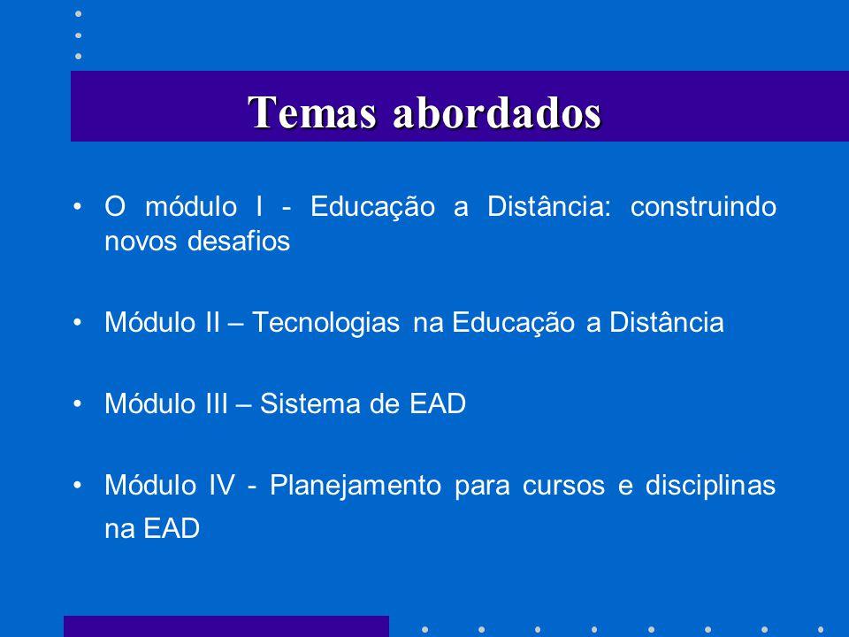 Temas abordados O módulo I - Educação a Distância: construindo novos desafios Módulo II – Tecnologias na Educação a Distância Módulo III – Sistema de
