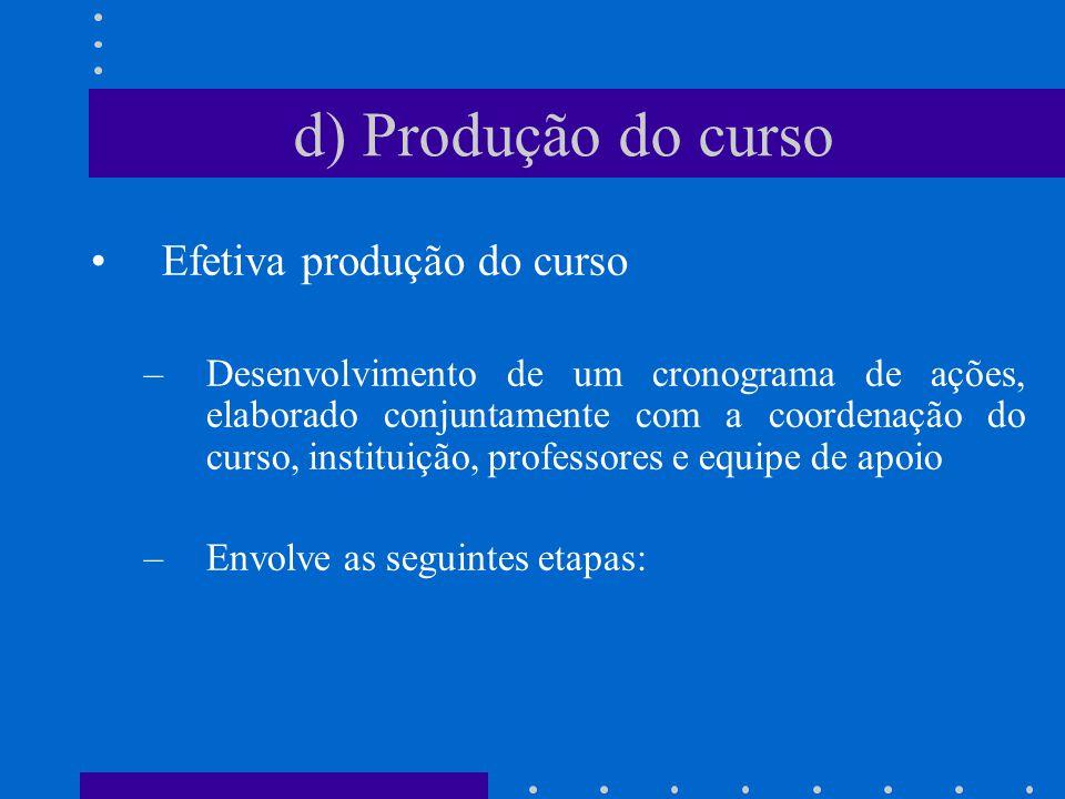 Efetiva produção do curso –Desenvolvimento de um cronograma de ações, elaborado conjuntamente com a coordenação do curso, instituição, professores e e