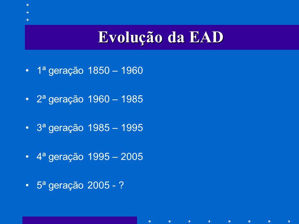 Evolução da EAD 1ª geração 1850 – 1960 2ª geração 1960 – 1985 3ª geração 1985 – 1995 4ª geração 1995 – 2005 5ª geração 2005 - ?